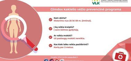 25–60 metų moterų dėmesiui.<br/> INFORMACINIS PRANEŠIMAS: nuo 2004 metų Lietuvoje yra vykdoma valstybinė gimdos kaklelio piktybinių navikų prevencijos programa, finansuojama Privalomojo sveikatos draudimo fondo lėšomis.